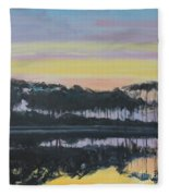 Western Lake Sunrise Fleece Blanket