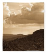 Western Mountain Scene In Sepia Fleece Blanket