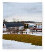 Western New York Farm As An Oil Painting Fleece Blanket