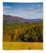 Western North Carolina Horses And Mountains Panorama Fleece Blanket
