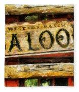 Western Saloon Sign - Drawing Fleece Blanket