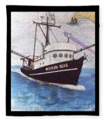 Western Seas Trawl Fishing Boat Nautical Chart Art Fleece Blanket