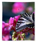 Western Tiger Swallowtail Butterfly On Geranium Fleece Blanket