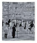 Western Wall Jerusalem Bw Fleece Blanket