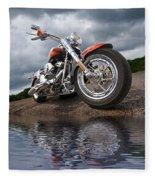 Wet And Wild - Harley Screamin' Eagle Reflection Fleece Blanket