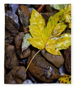 Wet Autumn Leaf On Stones Fleece Blanket