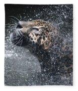 Wet Jaguar  Fleece Blanket