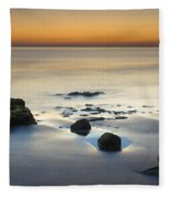 Wet Sunset Reflections Fleece Blanket