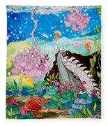 Whaeel And The Sea Fleece Blanket