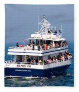 Whale Watching Boat Fleece Blanket