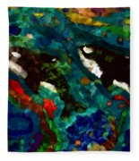 Whales At Sea - Orcas - Abstract Ink Painting Fleece Blanket