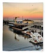 Wharf #2 In Monterey At Sunset Fleece Blanket