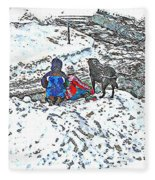 What Fascinates Children And Dogs -  Snow Day - Winter Fleece Blanket