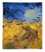 Wheat Field With Crows Fleece Blanket