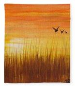 Wheatfield At Sunset Fleece Blanket