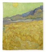 Wheatfield With A Reaper Fleece Blanket