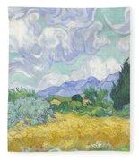 Wheatfield With Cypresses Fleece Blanket