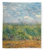 Wheatfield With Lark Fleece Blanket