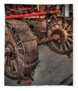 Wheels Of Old Steam Wagon Fleece Blanket