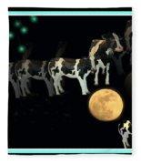 When Cows Jump Over The Moon Fleece Blanket