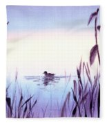 When The Sky Melts With Water A Peaceful Pond Fleece Blanket
