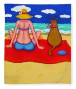 Whimsical Beach Seashore Woman And Dog Fleece Blanket