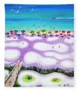 Whimsical Beach Umbrellas - Seashore Fleece Blanket