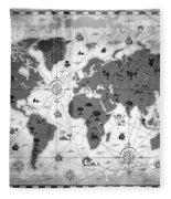 Whimsical World Map Bw Fleece Blanket