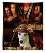Whippet Art - Pirates Of The Caribbean The Curse Of The Black Pearl Movie Poster Fleece Blanket