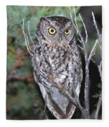 Whiskered Screech Owl Fleece Blanket