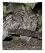 Whiskered Screech Owls Fleece Blanket
