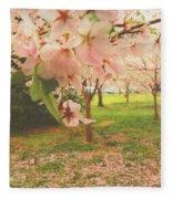 Whispering Cherry Blossoms Fleece Blanket
