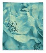 Whispers Of Teal Roses Fleece Blanket