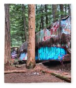 Whistler Train Wreckage Among The Trees Fleece Blanket