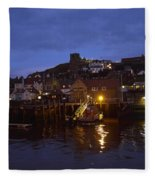 Whitby Lower Harbour And The Rnli Lifeboat Station At Night Fleece Blanket