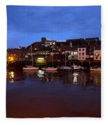Whitby Lower Harbour At Night Fleece Blanket