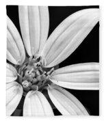 White And Black Flower Close Up Fleece Blanket
