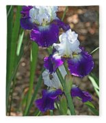 White And Blue Iris Stalks At Boyce Thompson Arboretum Fleece Blanket