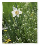 White And Yellow Daffodil Fleece Blanket