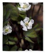 White Anemone Flowers Fleece Blanket