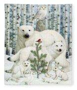 White Animals Red Bird Fleece Blanket