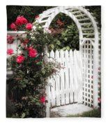 White Arbor With Red Roses Fleece Blanket