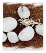 White Beach Rock Vignette Fleece Blanket