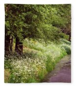 White Bloom Along The Dutch Canal. Netherlands Fleece Blanket