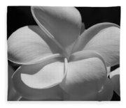 White Bloom B W Fleece Blanket
