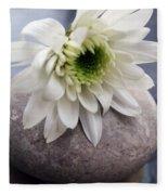 White Blossom On Rocks Fleece Blanket