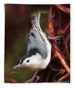 White-breasted Nuthatch - Classic Pose Fleece Blanket
