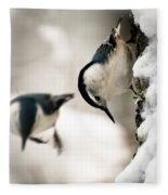 White Breasted Nuthatch In The Snow Fleece Blanket