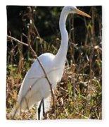 White Brilliance Of The Egret Fleece Blanket