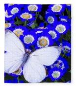 White Butterfly In Blue Flowers Fleece Blanket